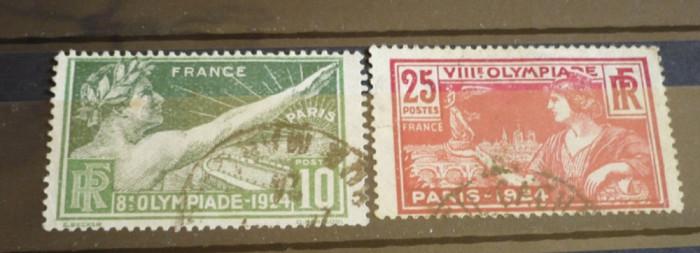 FRANTA 1924 – JOCURILE OLIMPICE PARIS, timbre stampilate AM61 foto mare