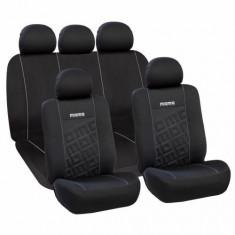Huse Scaune Auto Chevrolet Orlando Momo Negru-Gri 11 Bucati - Husa scaun auto