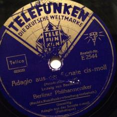 BEETHOVEN - ADAGIO ....(TELEFUNKEN/GERMANY) - DISC PATEFON/GRAMOFON/Stare F.Buna - Muzica Clasica, Alte tipuri suport muzica