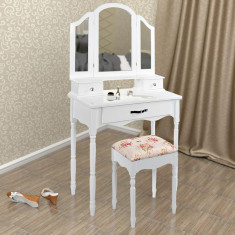 SEA329 - Set Masa alba toaleta cosmetica machiaj oglinda masuta vanity - Oglinda dormitor
