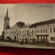 Ilustrata Turda- Piata Republicii, circulat 1962 - Carte Postala Transilvania dupa 1918, Circulata, Fotografie