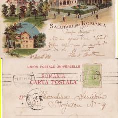 Salutari din Romania-Campina, Bucuresti, Buftea - litografie - Carte Postala Muntenia pana la 1904, Circulata, Printata