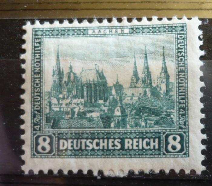 GERMANIA (REICH) 1930 – AJUTOR DE URGENTA, CLADIRI,  timbru cu SARNIERA, AM61 foto mare