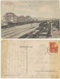 Simeria jud Hunedoara ilustrata 1907 trenuri de marfa in gara, Circulata, Printata