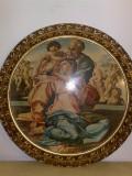 Tablou litografie,reproducere Michelangelo,rama lemn cu foita,80 cm,Italia