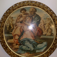 Tablou litografie, reproducere Michelangelo, rama lemn cu foita, 80 cm, Italia
