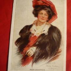 Ilustrata 1904 - Doamna cu palarie rosie -intitulata My Chauffeur