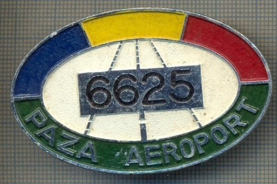 """ZET 638 INSIGNA TEMATICA AVIATIE - ,,PAZA AEROPORT - 6625"""" - ROMANIA foto"""