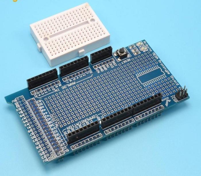 Prototype shield v3 pentru Arduino MEGA DUE + breadboard 170pct (a.537)