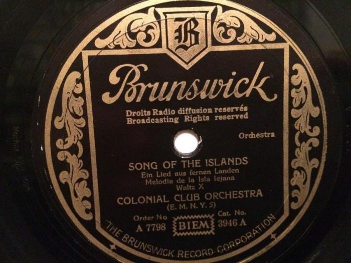 SONG OF THE ISLANDS (1928/BRUNSWICK/UK) - DISC PATEFON/GRAMOFON/Stare F.Buna foto mare