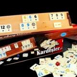Set Joc de remi rummy piese praf de piatra 4 table lemn masiv calitate premium - Joc board game