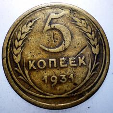 2.316 RUSIA URSS 5 KOPEICI COPEICI KOPEEK 1931, Europa, Bronz-Aluminiu