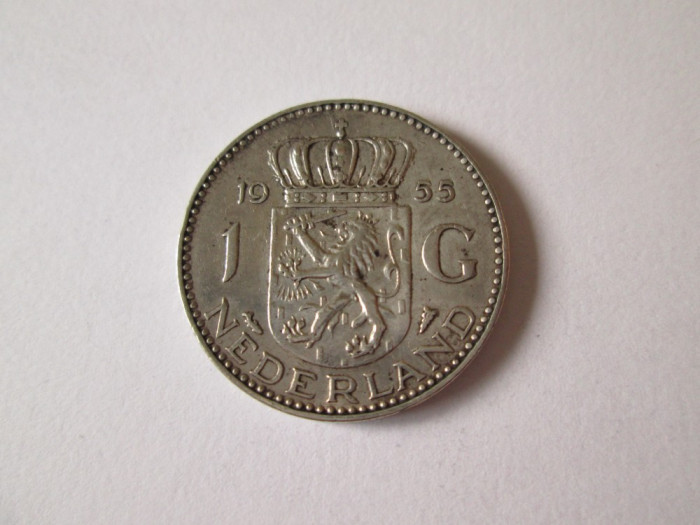 Olanda 1 Gulden 1955 Argint foto mare
