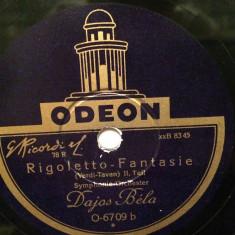 VERDI - RIGOLETTO-FANTASIE (ODEON/GERMANY) - DISC PATEFON/GRAMOFON/Stare F.Buna - Muzica Clasica, Alte tipuri suport muzica