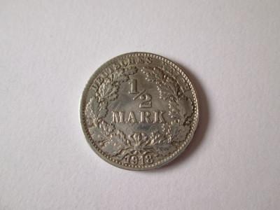 Germania 1/2 Mark 1918  F Argint foto