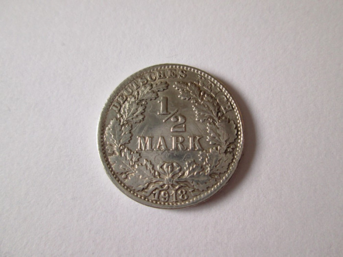 Germania 1/2 Mark 1918  F Argint foto mare