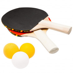 Set 5 piese tenis de masa AI & E, 2 palete + 3 mingi, ? 40mm, 3 straturi de lemn, 18721