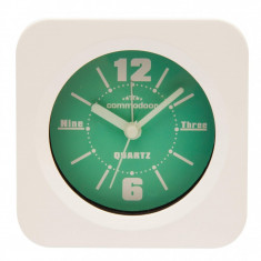 Ceas de masa cu alarma Commodoor, Quartz, Alb/Verde, 47150GR