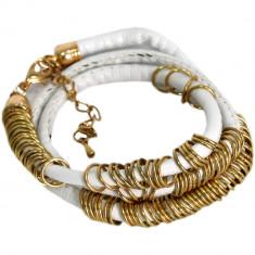 Bratara dama, Mix Henk 4.99, alba - Bratara placate cu aur