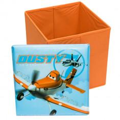 Taburet Dusty Planes cu spatiu de depozitare, 31x31x33cm, portocaliu