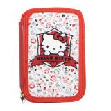 Penar echipat Hello Kitty, 2 compartimente cu fermoar, 33 de piese, rosu, 19681RD - Ghiozdan