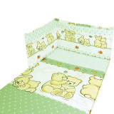 Set lenjerie 5 piese Misie 100x135 - Verde - Lenjerie pat copii