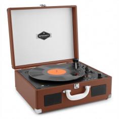 Auna PEGGY SUE, CD portabil, CD RETRO, gramofon, CD, USB, SD, maro închis - Pickup audio
