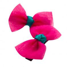 Agrafe par cu fundita roz Zilla, pentru fetite, 2 bucati, 66496FU - Clama