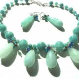 Set colier si cercei angelit si cristale ( pietre semipretioase)