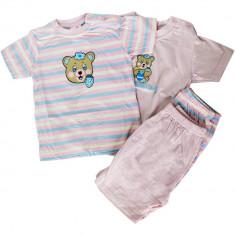 Set 2 pijamale de vara Maui, maneci scurte, imprimeu cu ursulet, roz, pentru fetite