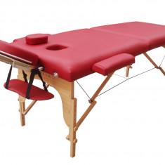 Pat, masa masaj, cosmetica pliabil 2 sectiuni, portabil de lemn.