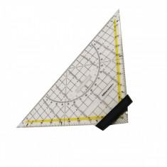 Echer cu raportor, 22 cm, gradatii pe toate muchiile, material rezistent, design ergonomic