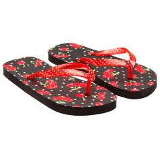 Papuci cu buline si imprimeu cirese, Negru/Rosu, pentru fete, 91180BLK28