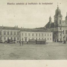 BLAJ BISERICA CATEDRALA SI INATITUTELE DE INVATAMANT EDITURA I. BUSUIOC BLAJ - Carte Postala Transilvania 1904-1918, Necirculata, Printata