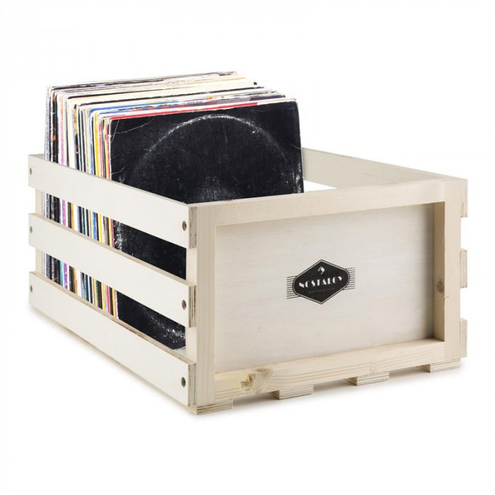 NOSTALGIE BY Auna RECORD BOX WD, cutie pentru discuri, lemn foto mare