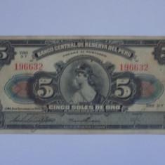 PERU  5 Soles 1939 F+++
