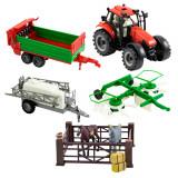 Jucarie Micul Fermier set tractor cu 3 utilaje si animale de ferma M2