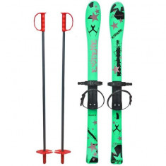 Skiuri copii 90 cm - Marmat - Verde - Set ski