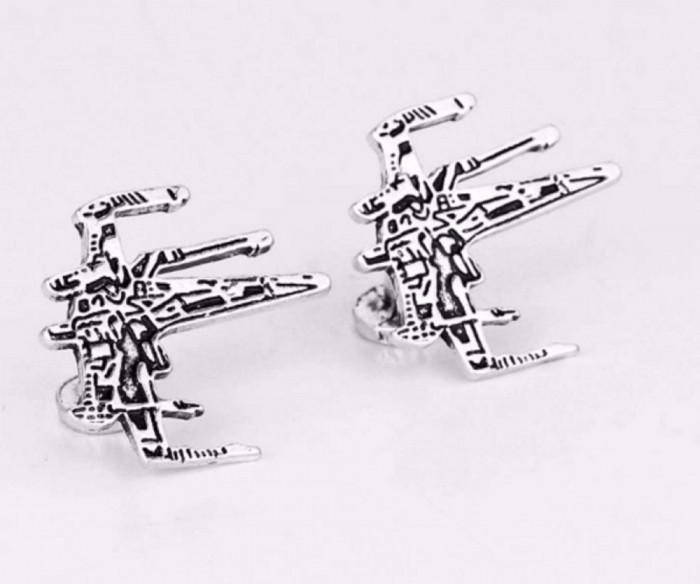 Butoni camasa Star Wars Fighter silver  + cutie cadou