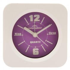Ceas de masa cu alarma Commodoor, Quartz, Alb/Violet, 47150PU