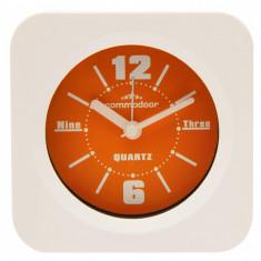 Ceas de masa cu alarma Commodoor, Quartz, Alb/Portocaliu, 47150OR