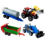 Jucarie Micul Fermier set 2 tractoare cu 2 utilaje agricole M3
