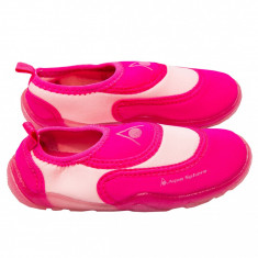 Incaltaminte de plaja si apa Aqua Sphere, talpa flexibila din cauciuc, material tip neopren, roz, pentru fetite