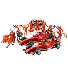 Jucarie set 2 masinute de Formula 1 + Staff High Speed