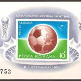 1974 Romania, LP 853-C.M. de Fotbal 1974-Munchen, colita nedantelata-MNH - Timbre Romania, Sport, Nestampilat