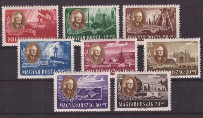 Ungaria 1947 Roosevelt, serie neuzata foto mare