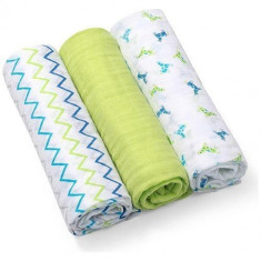 Scutece textile pentru bebelusi 3 buc - BabyOno - Verde - Scutece unica folosinta copii