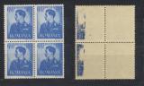 ROMANIA 1941 Uzuale suprataxa Mihai 6 lei bloc de 4 eroare 2x offset abklatsch