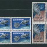 Romania 1969 Apollo 9 si 10 - blocuri de 4 neuzate MNH, LP702 - Timbre Romania, Nestampilat