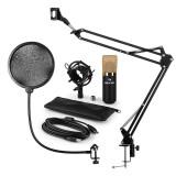 Auna MIC-900BG, USB, set de microfon, set V4, auriu, microfon condensator, filtru pop, braț de microfon